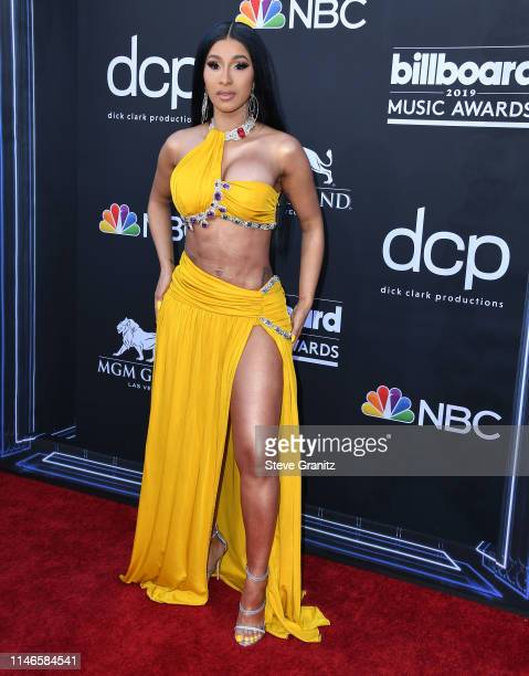2019 Cardi B arrives at the Billboard Music Awards at MGM Grand Garden Arena on May 01 2019 in Las Vegas Nevada