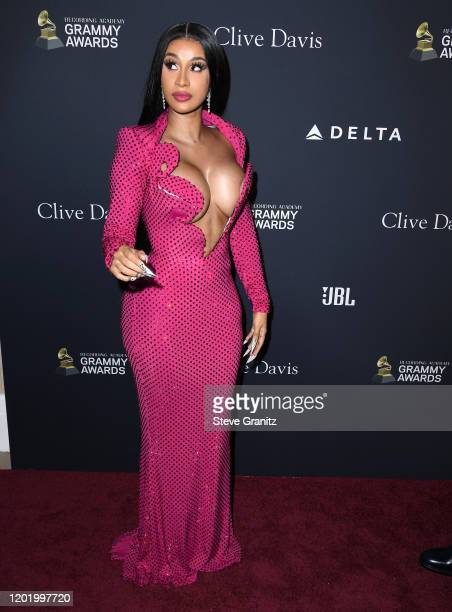 Cardi B arrives at the PreGRAMMY Gala and GRAMMY Salute to Industry Icons Honoring Sean Diddy Combs at The Beverly Hilton Hotel on January 25 2020 in...