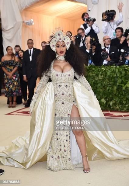 Cardi B arrives for the 2018 Met Gala on May 7 2018 at the Metropolitan Museum of Art in New York The Gala raises money for the Metropolitan Museum...