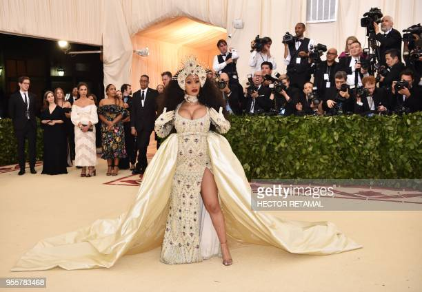 Cardi B arrives for the 2018 Met Gala on May 7 at the Metropolitan Museum of Art in New York The Gala raises money for the Metropolitan Museum of...