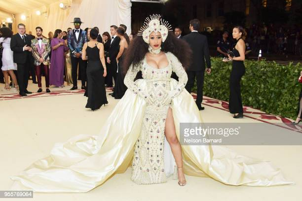 Cardi B attends the Heavenly Bodies Fashion The Catholic Imagination Costume Institute Gala at The Metropolitan Museum of Art on May 7 2018 in New...