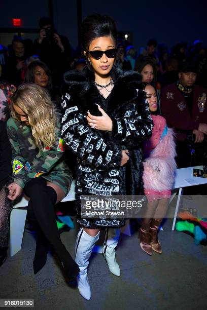 Cardi B attends the Jeremy Scott fashion show during New York Fashion Week at Gallery I at Spring Studios on February 8 2018 in New York City
