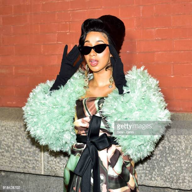 Cardi B attends the Marc Jacobs Fall 2018 fashion show during New York Fashion Week at Park Avenue Armory on February 14 2018 in New York City