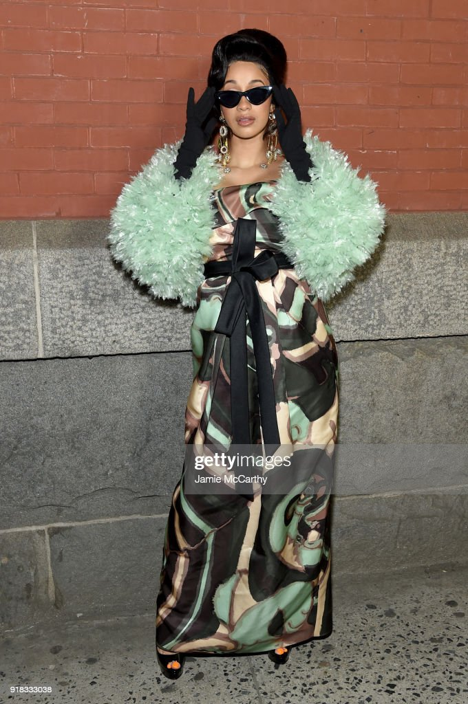 Cardi B attends the Marc Jacobs Fall 2018 Show at Park Avenue Armory on February 14, 2018 in New York City.