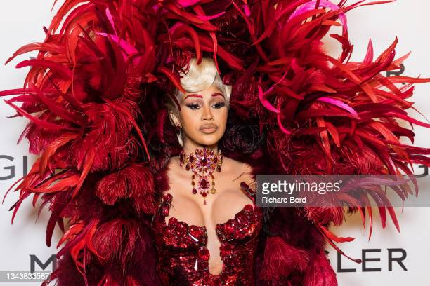 """Cardi B attends the """"Thierry Mugler : Couturissime"""" Photocall as part of Paris Fashion Week at Musee Des Arts Decoratifs on September 28, 2021 in..."""