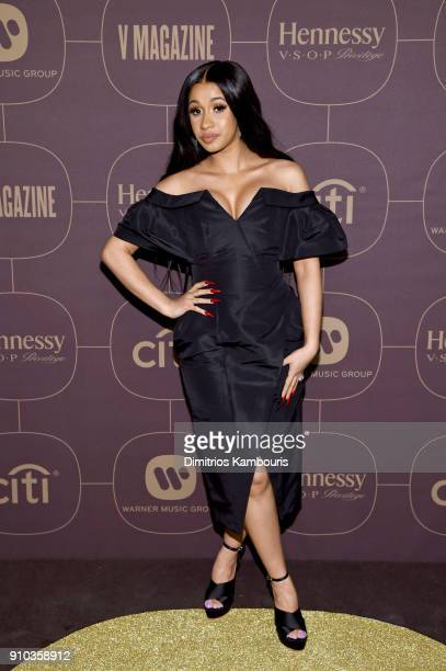 Cardi B attends the Warner Music Group PreGrammy Party in association with V Magazine on January 25 2018 in New York City