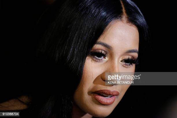 Cardi B attends the Warner Music Group's annual Grammy celebration in association with V magazine on January 25 2018 in New York / AFP PHOTO / KENA...