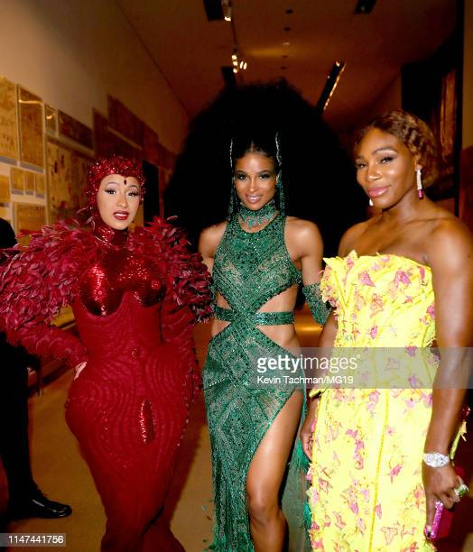Cardi B Ciara and Serena Williams attend The 2019 Met Gala Celebrating Camp Notes on Fashion at Metropolitan Museum of Art on May 06 2019 in New York...