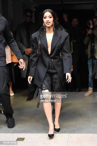 Cardi B is seen arriving at Mugler fashion show during Paris Fashion Week Womenswear Spring/Summer 2019 on September 26 2018 in Paris France