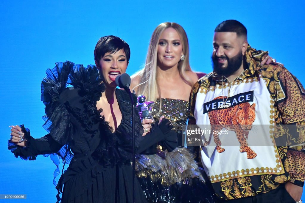 Cardi B, Jennifer Lopez, and DJ Khaled accept the award for Best Collaboration onstage during the 2018 MTV Video Music Awards at Radio City Music Hall on August 20, 2018 in New York City.