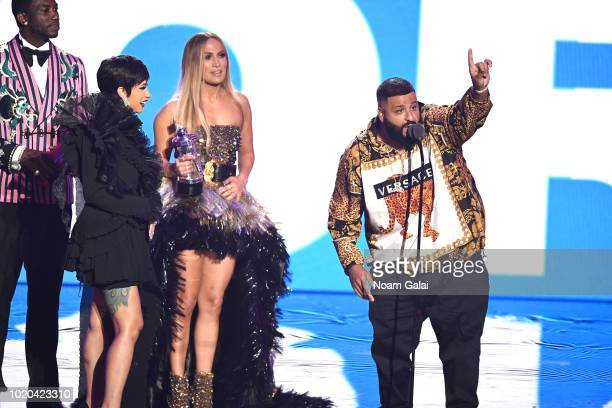 Cardi B, Jennifer Lopez and DJ Khaled accept the award for Best Collaboration onstage during the 2018 MTV Video Music Awards at Radio City Music Hall...