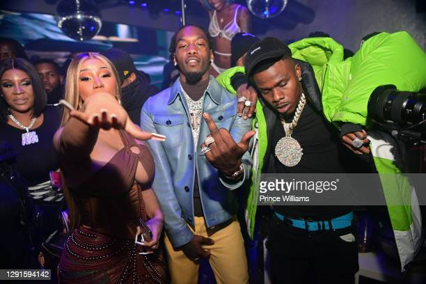 Cardi B, Offset and DaBaby attend Offset Birthday Celebration at Republic Lounge on December 14, 2020 in Atlanta, Georgia.
