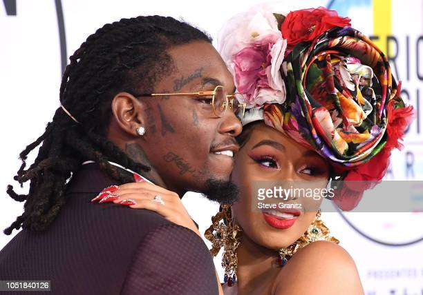 Cardi B Offset arrives at the 2018 American Music Awards at Microsoft Theater on October 9 2018 in Los Angeles California
