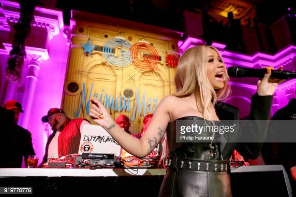 Cardi B performs at the 2018 GQ x Neiman Marcus All Star Party at Nomad Los Angeles on February 17 2018 in Los Angeles California