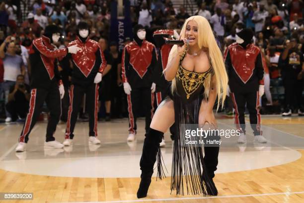 Cardi B performs during the BIG3 three on three basketball league championship game on August 26 2017 in Las Vegas Nevada