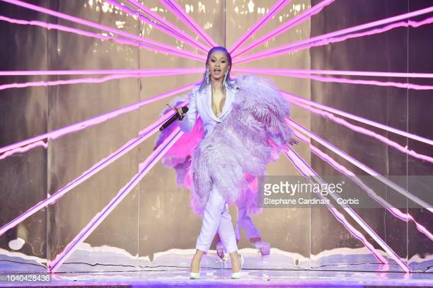 Cardi B performs during the ETAM show as part of the Paris Fashion Week Womenswear Spring/Summer 2019 on September 25, 2018 in Paris, France.