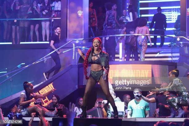 Cardi B performs on stage at the BET Hip Hop Awards 2018 at LIV nightclub at Fontainebleau Miami on October 4 2018 in Miami Beach Florida