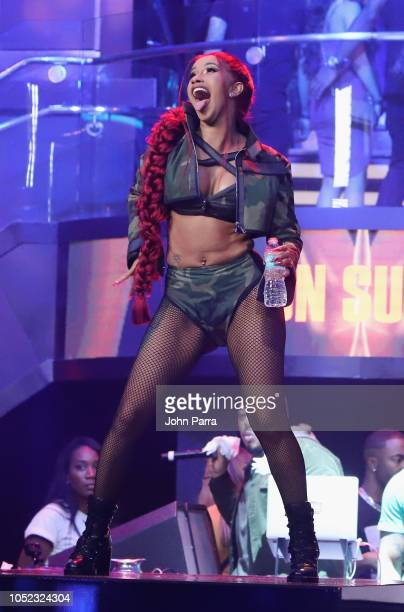 Cardi B performs on stage at the BET Hip Hop Awards 2018 at LIV nightclub at Fontainebleau Miami on October 4, 2018 in Miami Beach, Florida.