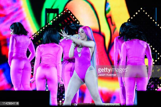 Cardi B performs on stage during day one at Hard Rock Stadium on May 10 2019 in Miami Gardens Florida