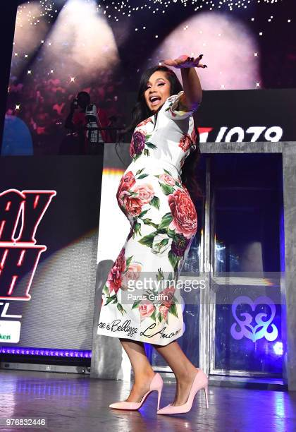 Cardi B performs on stage during Hot 1079 Birthday Bash at Cellairis Amphitheatre at Lakewood on June 16 2018 in Atlanta Georgia