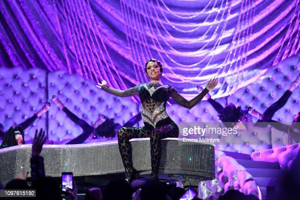 Cardi B performs onstage during during the 61st Annual GRAMMY Awards at Staples Center on February 10 2019 in Los Angeles California