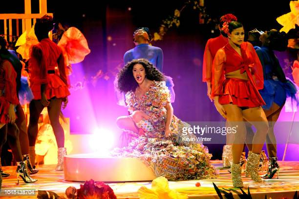 Cardi B performs onstage during the 2018 American Music Awards at Microsoft Theater on October 9 2018 in Los Angeles California
