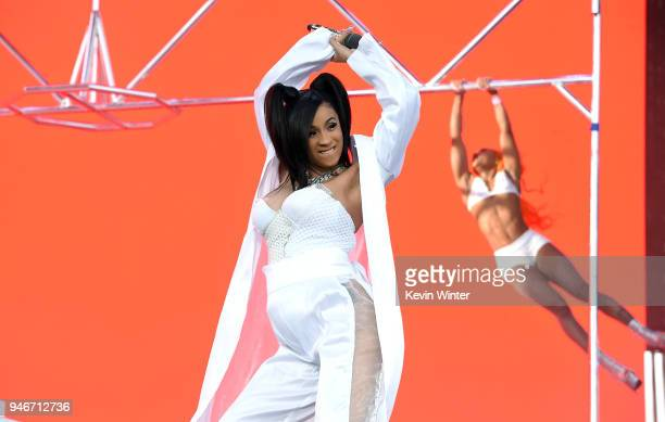 Cardi B performs onstage during the 2018 Coachella Valley Music and Arts Festival Weekend 1 at the Empire Polo Field on April 15 2018 in Indio...