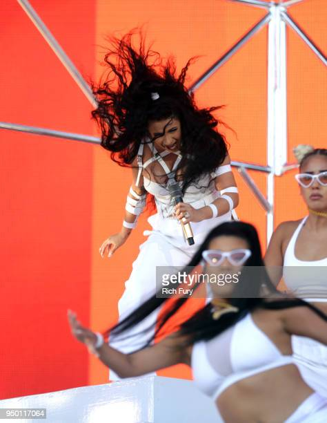 Cardi B performs onstage during the 2018 Coachella Valley Music And Arts Festival at the Empire Polo Field on April 22 2018 in Indio California
