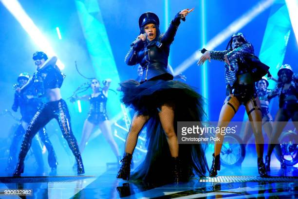 Cardi B performs onstage during the 2018 iHeartRadio Music Awards which broadcasted live on TBS TNT and truTV at The Forum on March 11 2018 in...
