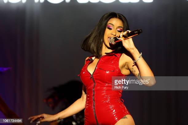 Cardi B performs onstage during the Fashion Nova x Cardi B Collaboration Launch Event at Boulevard3 on November 14 2018 in Hollywood California