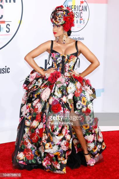 Cardi B photographed on the red carpet of the 2018 American Music Awards at the Microsoft Theater on October 9 2018 in Los Angeles USA