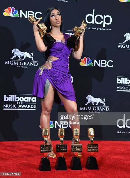 Cardi B poses at the Billboard Music Awards at MGM Grand Garden Arena on May 01 2019 in Las Vegas Nevada