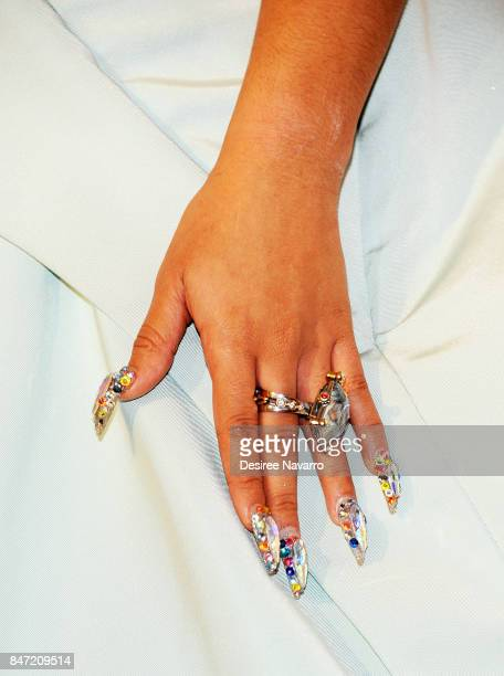 Cardi B ring and nail detail attends Rihanna's 3rd Annual Diamond Ball at Cipriani Wall Street on September 14 2017 in New York City