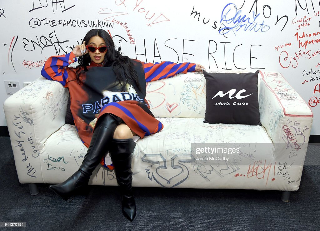 Cardi B visits Music Choice at Music Choice on April 10, 2018 in New York City.