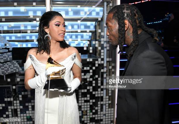 Cardi B winner of Best Rap Album for 'Invasion of Privacy' and Offset pose backstage during the 61st Annual GRAMMY Awards at Staples Center on...
