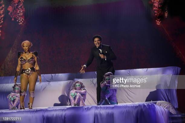 Cardi B with host Trevor Noah performing at THE 63rd ANNUAL GRAMMY® AWARDS, broadcast live from the STAPLES Center in Los Angeles, Sunday, March 14,...