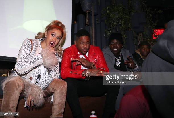 Cardi B YG Casanova and Maino attend the Cardi B Silent Listening Party on April 5 2018 in New York City
