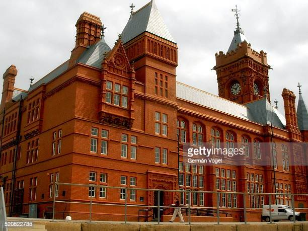 Cardiff bay Pierhead red brick building built in the 19th century, and the Baby Big Ben clock tower, now turned into a museum.