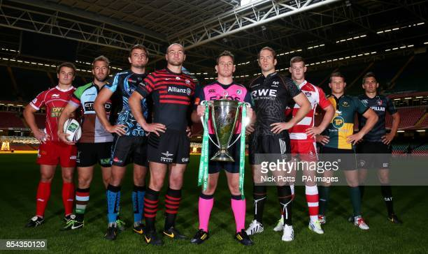 Cardiff Blues captain Matthew Rees with the Heineken Cup with fellow captains Scarlets Jonathan Davies Harlequins Chris Robshaw Exeter Chiefs Dean...