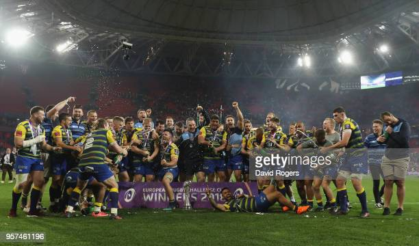 Cardiff Blues celebrate after winning the European Rugby Challenge Cup Final match between Cardiff Blues and Gloucester Rugby at San Mames Stadium on...