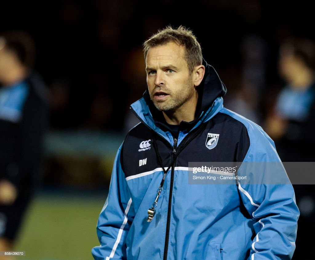 Cardiff Blues' Head Coach Danny Wilson during the pre match warm up during the Guinness Pro14 Round 6 match between Cardiff Blues and Dragons on October 6, 2017 at Cardiff Arms Park in Cardiff, Wales.