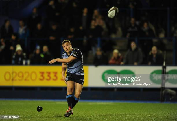 Cardiff Blues' Jarrod Evans converts Cardiff Blues' Olly Robinson's try during the Guinness PRO12 Round 17 match between Cardiff Blues and Benetton...
