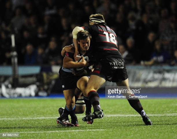 Cardiff Blues' Jarrod Evans is tackled by Edinburgh's Simon Berghan during the Guinness Pro14 Round 1 match between Cardiff Blues and Edinburgh Rugby...