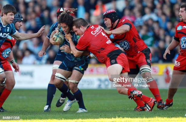 Cardiff Blues' Josh Navidi is tackled by Toulon's Gethin Jenkins during the Heineken Cup match at Cardiff Arms Park Cardiff
