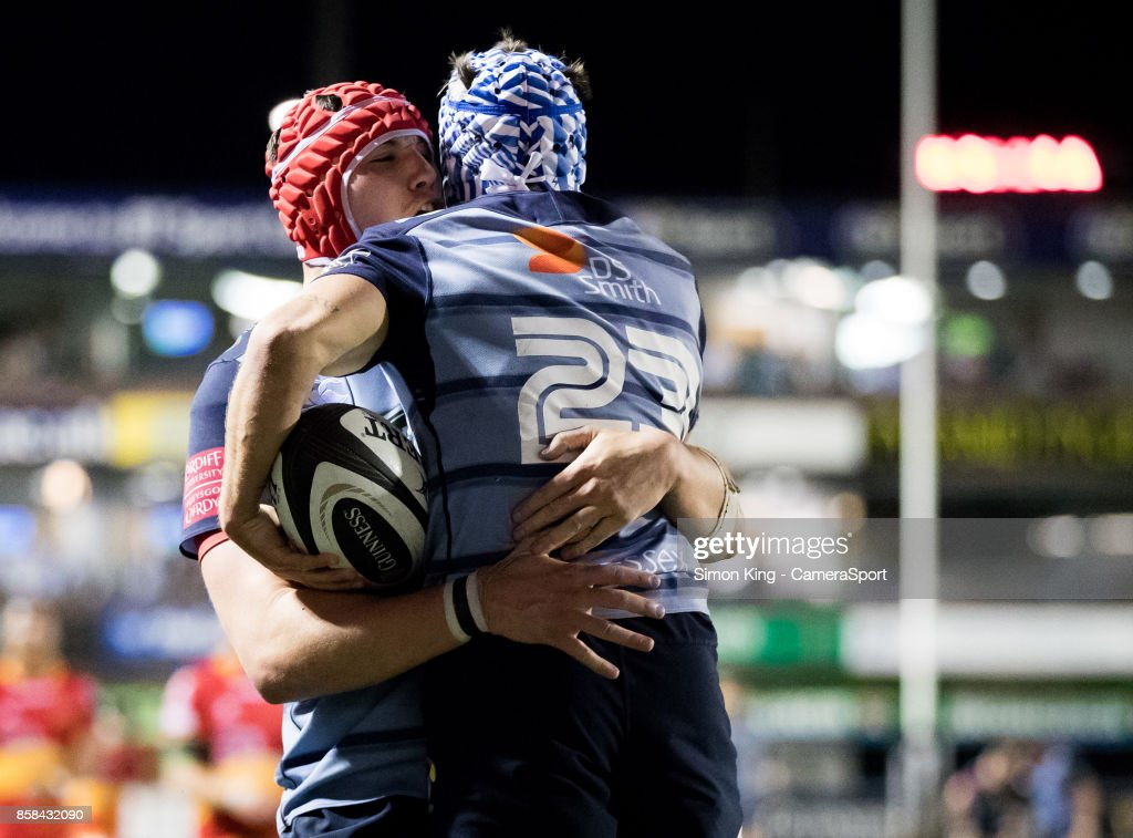 Cardiff Blues' Matthew Morgan celebrates scoring his sides sixth try with team mate Seb Davies during the Guinness Pro14 Round 6 match between Cardiff Blues and Dragons on October 6, 2017 at Cardiff Arms Park in Cardiff, Wales.