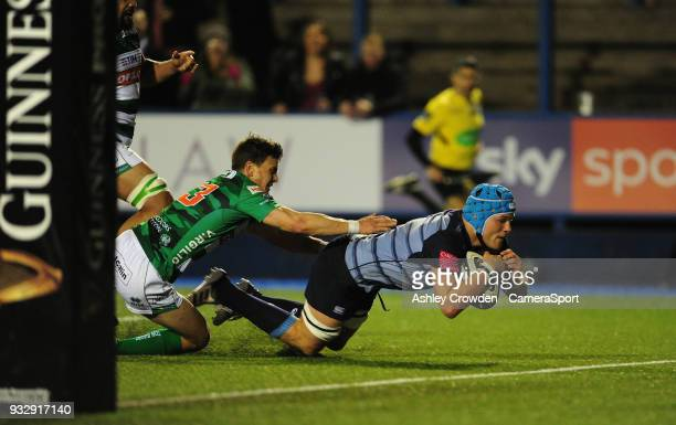 TRY Cardiff Blues' Olly Robinson scores his sides second try during the Guinness PRO12 Round 17 match between Cardiff Blues and Benetton Rugby at...