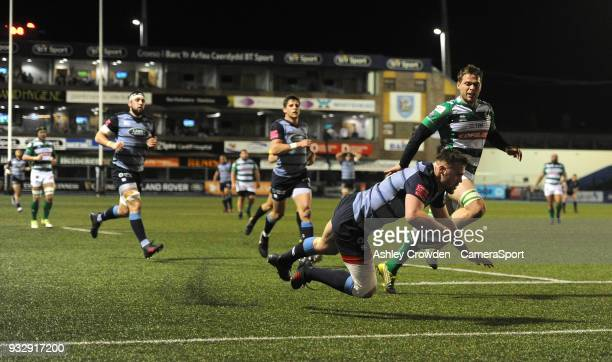 TRY Cardiff Blues' Owen Lane scores his sides first try during the Guinness PRO12 Round 17 match between Cardiff Blues and Benetton Rugby at Cardiff...