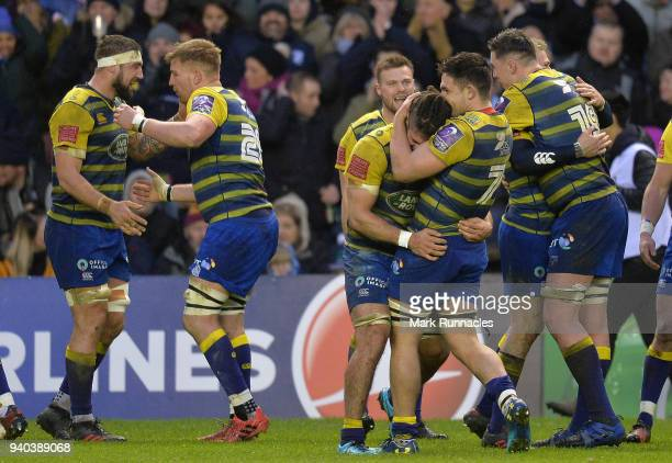 Cardiff Blues players celebrate at the final whistle as they beat Edinburgh 206 during the European Rugby Challenge Cup match between Edinburgh and...