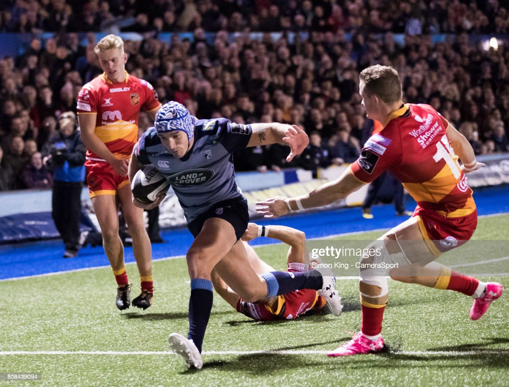 Cardiff Blues' Tom James scores his sides fourth try during the Guinness Pro14 Round 6 match between Cardiff Blues and Dragons on October 6, 2017 at Cardiff Arms Park in Cardiff, Wales.