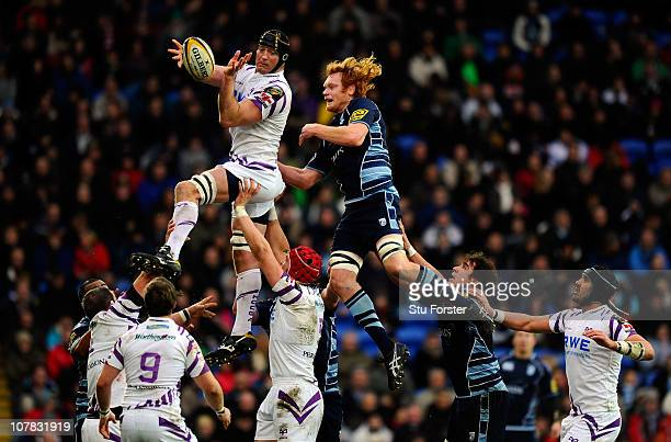 Cardiff captain Paul Tito is beaten to the ball in the lineout by Ospreys player Ian Gough during the Magners League match between Cardiff Blues and...